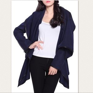 Jackets & Blazers - Asymmetric Faux Wool Coat Faux Leather Trim Jacket